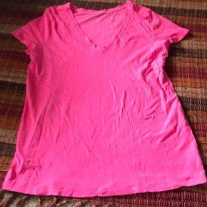 Hot pink v neck shirt